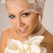Bride with bouquet — Stockfoto