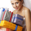Stock Photo: Classical bride with presents
