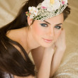 Bride with orchid in her hair — Stock Photo