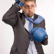 Defeated businessman - boxer — Stock Photo