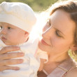 Mother and baby in the country — Stock Photo