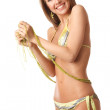 Stock Photo: Young happy woman in bikini