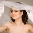Cheerful bride - Foto Stock