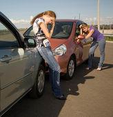 Bilolycka på vägen — Stockfoto