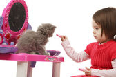 Little girl playing with kitten — Stock Photo