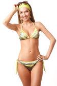 Młoda szczęśliwa kobieta w bikini — Zdjęcie stockowe