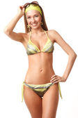 Young happy woman in bikini — Stok fotoğraf