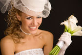 šťastné retro nevěsta — Stock fotografie