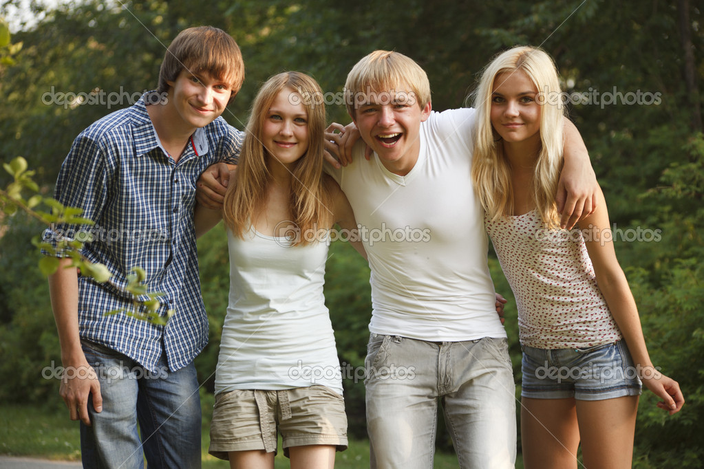 Group of teens having fun — Stock Photo #14176240