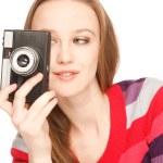 Holding a camera — Stock Photo