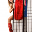 Woman in red boots - Stock Photo