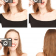 Stock Photo: Woman photografing herself in the Photo Booth