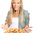 Cheerful girl with pizza — Stock Photo #19051675