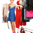 Stock Photo: Choosing dresses