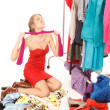 Stock Photo: Lots of clothes and still nothing to wear!