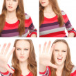 Four images of a young woman in Photo Booth — Stock Photo