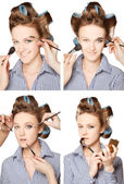 Applying make-up — Foto Stock