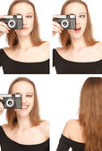 Woman photografing herself in the Photo Booth — Stock Photo