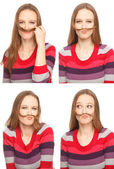 Woman with moustache — Stock Photo