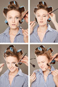 Applying make-up — Zdjęcie stockowe