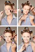 Applying make-up — Stockfoto