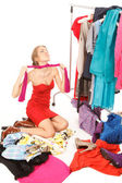 Lots of clothes and still nothing to wear! — 图库照片