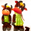 Foto Stock: Funny cow costumes