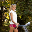 Stock Photo: Woman on the treadmill