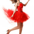 Pin-up in red — Stock Photo