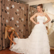 Stock Photo: Trying On A Wedding Dress