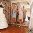 Stock Photo: Having fun in bridal Boutique