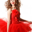 Shiny pin-up girl in red — Stock Photo