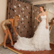 Choosing wedding dress — Stock Photo