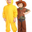Two boys in costumes — Stock Photo