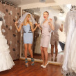 Having fun in bridal Boutique — Stock Photo