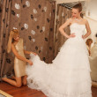 Two girlfriends in bridal Boutique — Foto de Stock