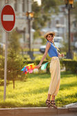 Funny girl on the street — Stockfoto