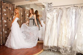 Trying On A Wedding Dress — 图库照片