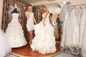 Women Shopping For Wedding Dress — 图库照片