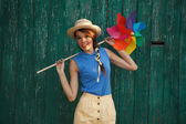 Funny girl with weather vane — Stockfoto