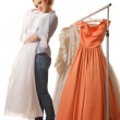 Young beautiful woman is choosing wedding dress — Stock Photo