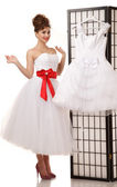 Pin-up bride standing — Stockfoto
