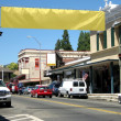 Main Street USA with Blank Banner - Stok fotoraf