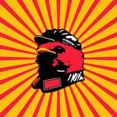 Mao Vogel chinesischen Stil Kunst Vogel Mao Hut zu tragen — Stockfoto