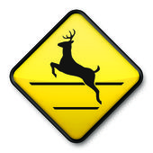 Jumping Deer Crossing Sign — Stock Photo
