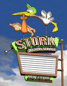 Stork Delivery Service Neon Sign — Stock Photo