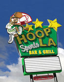 Hoop La Basketball Bar Neon Sign — Stock Photo