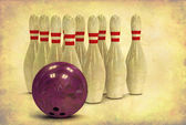 Grunge Bowling Ball and Pins — Stock Photo