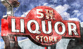 Fifth Street Liquor in Watercolor — Stock Photo