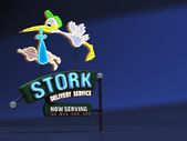 Neon Sign Stork Delivery Service — Stock Photo